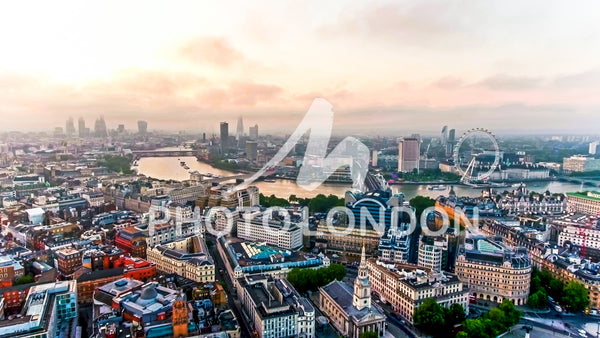 Aerial View Photo Of Beautiful Sunrise At The City Of London Skyline