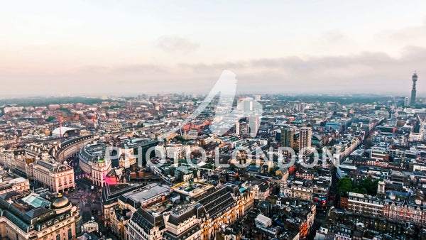 Aerial View Photo Central London City Piccadilly Circus and Landmarks