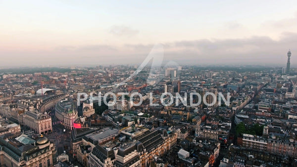 Flying by Central London City Piccadilly Circus and Leicester Square