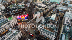Aerial View Image Photo of Iconic Famous Landmark Square Piccadilly Circus Orbiting Around Soho and Leicester Square in London England UK 4K Ultra HD