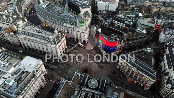 Aerial View of Piccadilly Circus in City Of London England UK