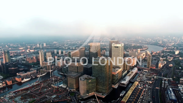 Aerial Video of London City Financial District and Skyscrapers 4K