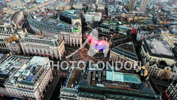 Aerial Stock Image of Piccadilly Circus in London City Center
