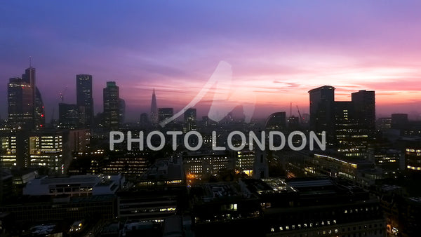 Iconic London Skyscrapers Aerial Shot At Night