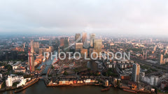 Aerial View Of Iconic Canary Wharf Skyscrapers In London
