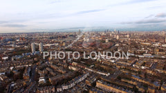 London Urban Cityscape Clapham and Battersea Aerial View 4K