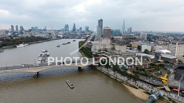 Aerial Panoramic View Of Southbank And Waterloo Bridge In London