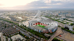 Aerial View Of Manchester Cityscape And Old Trafford