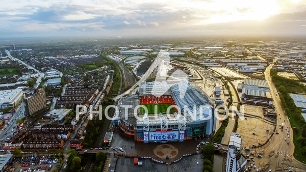 Aerial View Photo Of Iconic Manchester United Stadium Old Trafford