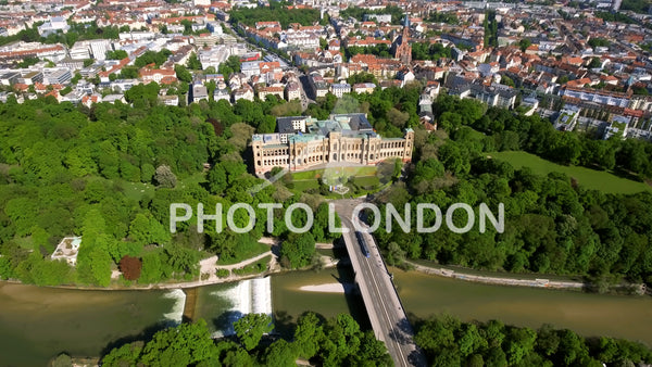 4K Aerial View Of Iconic Maximilianeum In Munich Germany