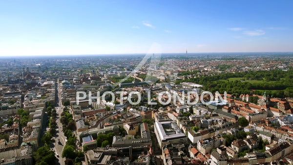 New Munich Skyline Aerial View in Germany