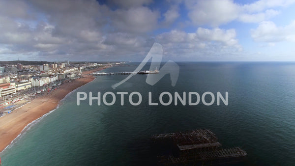 4K Panning Aerial View From The Old West Pier To New Brighton Pier