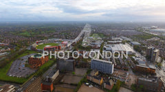 Aerial View Of Old Trafford Cricket Ground in Manchester Urban