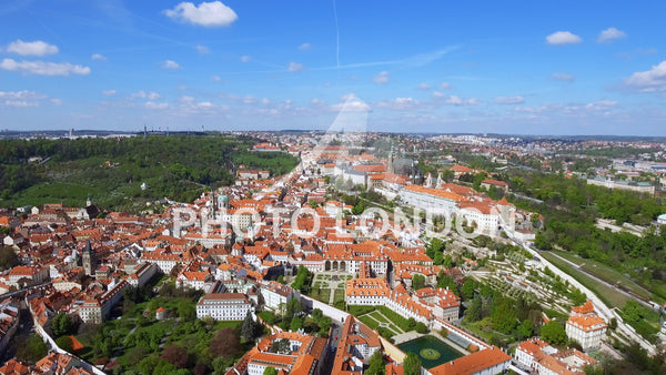 Flying Over The City Of Prague In Czechia