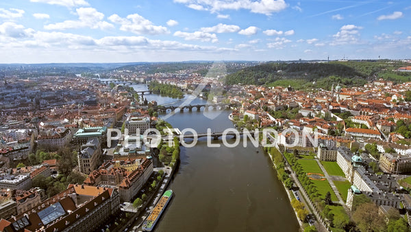 Aerial View Of Prague Cityscape In Czechia