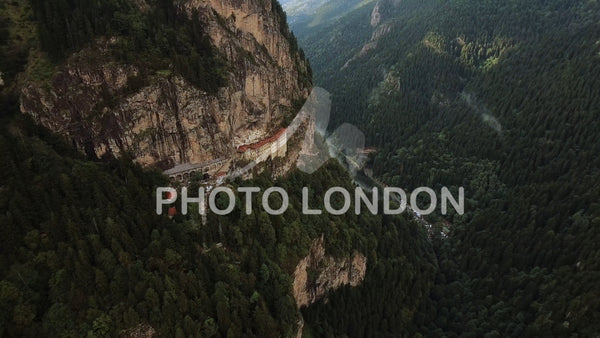 Aerial View Sumela Byzantine Greek Orthodox Monastery In Turkey