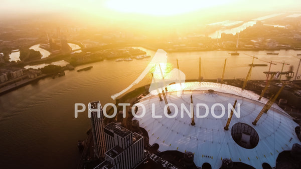 Aerial View Photo Flying By London O2 Arena Concert Hall At Sunrise 4K