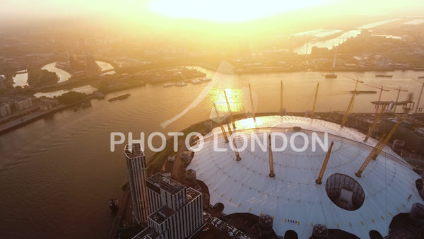 Aerial View Video Flying By London O2 Arena Concert Hall At Sunrise 4K