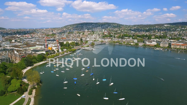 Aerial View Of Yachts In A Marina In Zurich