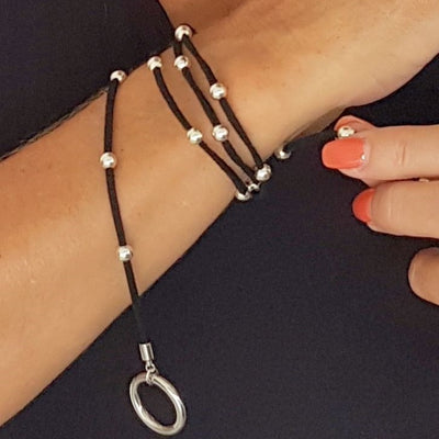 Necklace wrap leather stainless steel long toggle clasp