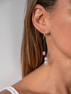 Leather and Freshwater Pearl Drop  Earrings - Charley