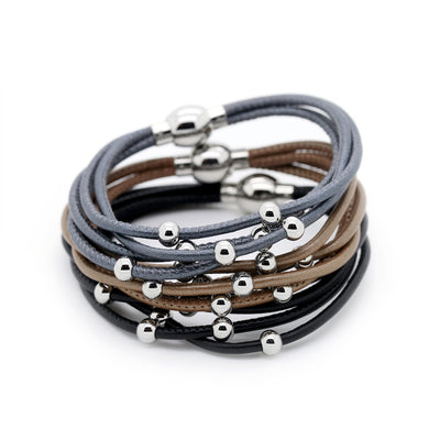 Nappa and stainless steel Bracelets
