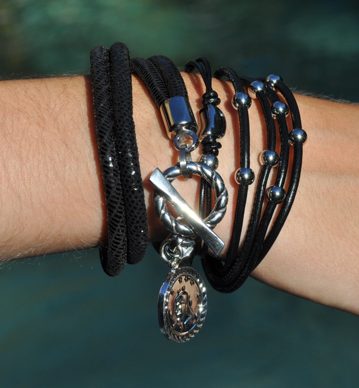 Bracelet Black Leather  heart charm Stainless Steel - Tyler Bracelet