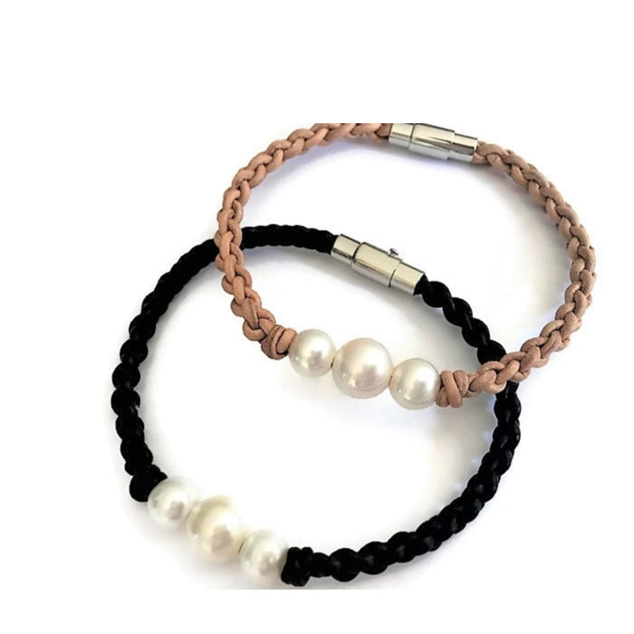 Real Leather and pearl bracelets