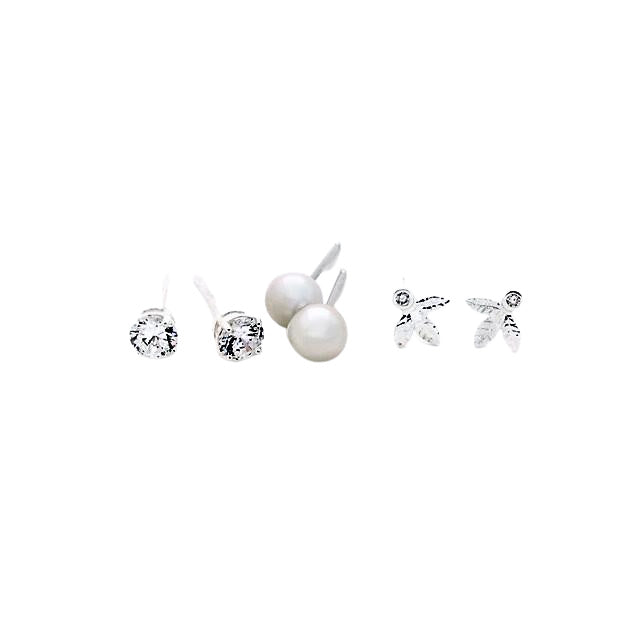 Stud-earrings-pearls-cubics-leaf-designs