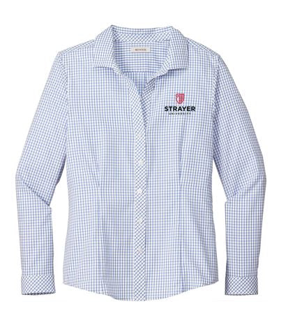 Red House ® Ladies Open Ground Check Non-Iron Shirt-Medium Blue/ White