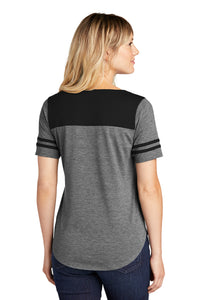 Sport-Tek ® Ladies PosiCharge ® Tri-Blend Wicking Fan Tee-Black Triad Solid/ Dark Grey Heather