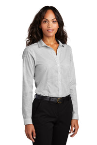 Red House ® Ladies Open Ground Check Non-Iron Shirt-Grey/ White