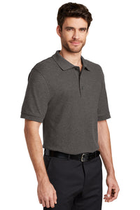 Port Authority® Silk Touch™ Polo-Charcoal Heather Grey