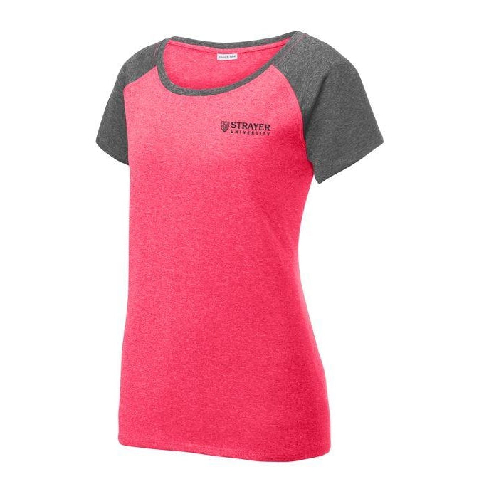 Ladies Heather-On-Heather Contender™ Scoop Neck Tee PINK RASPBERRY HEATHER