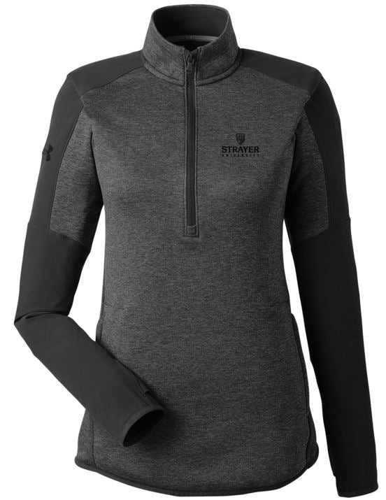 Under Armour Ladies' Qualifier Hybrid Corporate Quarter-Zip-BLACK