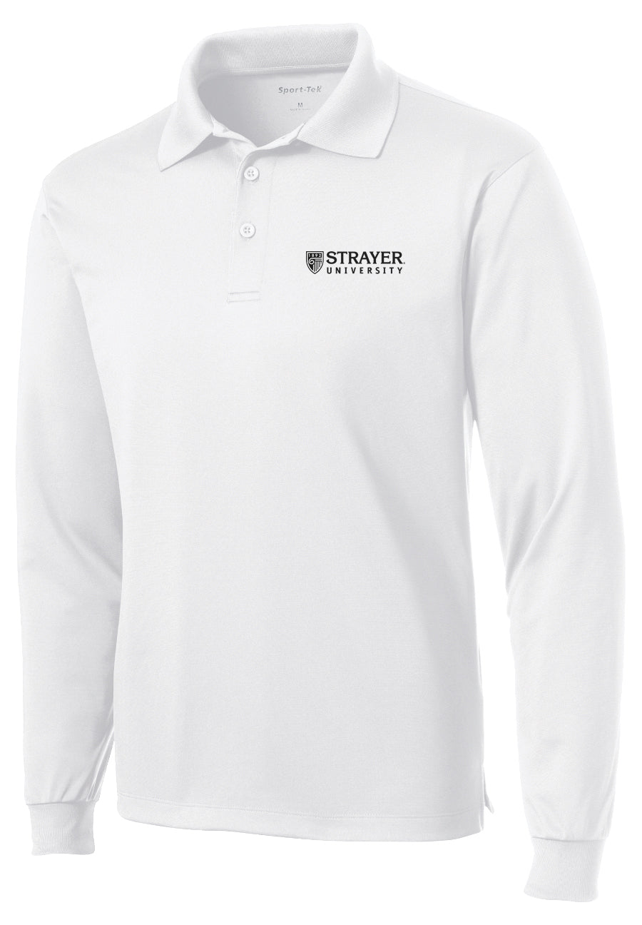 Sport-Tek Long Sleeve Micropique Sport-Wick Polo - White