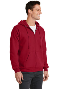 Port & Company® Core Fleece Full-Zip Hooded Sweatshirt-RED