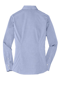 MBA CHEDDAR - Port Authority Ladies Crosshatch Easy Care Shirt - Chambray Blue