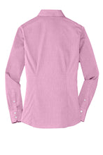 MBA CHEDDAR - Port Authority Ladies Crosshatch Easy Care Shirt - Pink Orchid