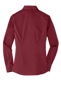Ladies Crosshatch Easy Care Shirt RED