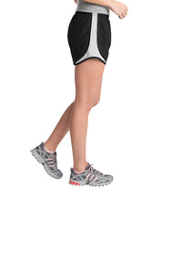 Sport-Tek® Ladies Cadence Short-BLACK/WHITE