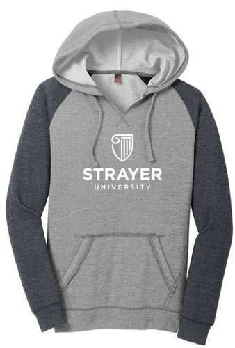 District ® Women's Lightweight Fleece Raglan Hoodie-Heathered Grey/ Heathered Charcoal