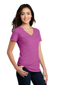District ® Women's Perfect Blend ® V-Neck Tee-Heathered Pink Raspberry