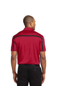 MEN'S Port Authority® Silk Touch™ Performance Colorblock Stripe Polo-RED/BLACK