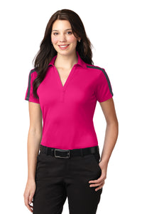 LADIES Port Authority® Silk Touch™ Performance Colorblock Stripe Polo-PINK RASPBERRY