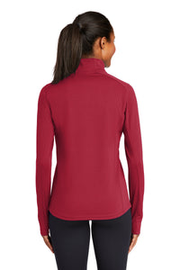 Sport-Tek® Ladies Sport-Wick® Textured 1/4-Zip Pullover-RED