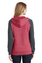 District ® Women's Lightweight Fleece Raglan Hoodie-Heathered Red/ Heathered Charcoal