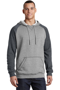 District ® Lightweight Fleece Raglan Hoodie-Heathered Grey/ Heathered Charcoal