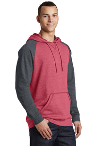District ® Lightweight Fleece Raglan Hoodie-Heathered Red/ Heathered Charcoal