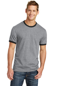 Port & Company® Core Cotton Ringer Tee-Athletic Heather/ Jet Black